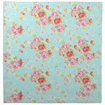 Flores color de rosa lamentables azules de los ros servilleta de papel