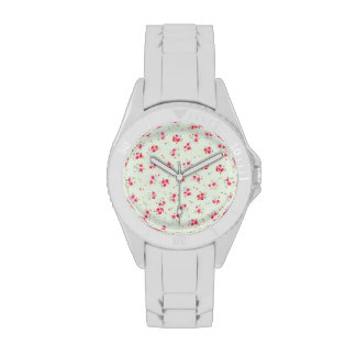 Flores color de rosa lamentables florales elegante relojes de pulsera