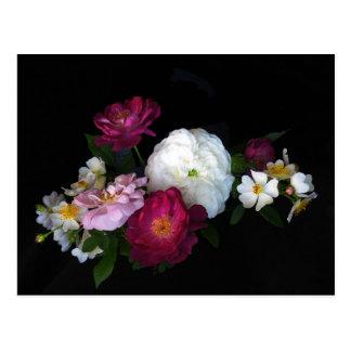 Flores color de rosa pasadas de moda florales tarjeta postal
