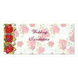 Flores color de rosa que casan la tarjeta de la invitaciones personalizada