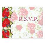 Flores color de rosa que casan la tarjeta de RSVP Anuncios
