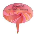 Flores color de rosa rosadas de Cakepicks del aniv Figura Para Tarta