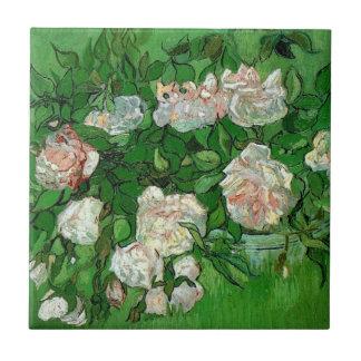 Flores color de rosa rosadas de Van Gogh, todavía Azulejo Cuadrado Pequeño