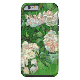 Flores color de rosa rosadas de Van Gogh, todavía Funda Para iPhone 6 Tough