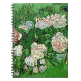 Flores color de rosa rosadas de Van Gogh, todavía Libreta