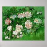 Flores color de rosa rosadas de Van Gogh, todavía Poster