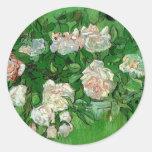 Flores color de rosa rosadas de Van Gogh, todavía Pegatina Redonda