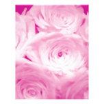 Flores color de rosa rosadas membrete personalizado