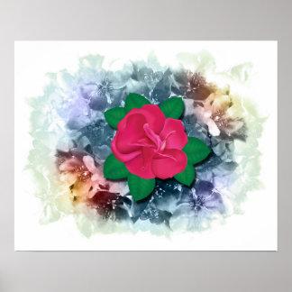 Flores color de rosa y del arco iris de Crabapple Póster