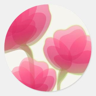 Flores coloreadas rosa pegatina redonda