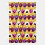 Flores coloridas bonitas del pensamiento toallas de cocina