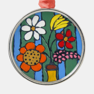 Flores coloridas brillantes adorno de navidad