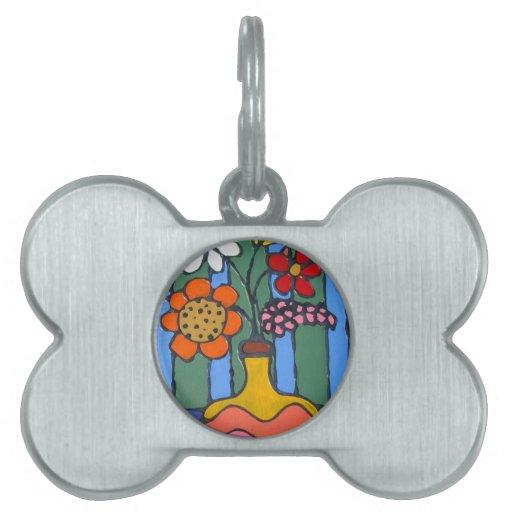 Flores coloridas brillantes placa mascota