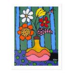 Flores coloridas brillantes postal