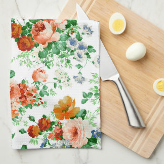 Flores coloridas con el modelo de los rosas toallas de mano