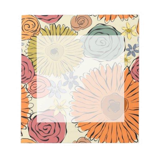 Flores coloridas de la primavera del extracto del  libretas para notas