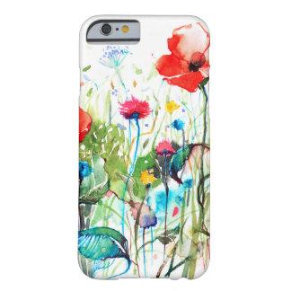Flores coloridas de la primavera y las acuarelas funda barely there iPhone 6
