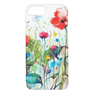 Flores coloridas de la primavera y las acuarelas funda iPhone 7