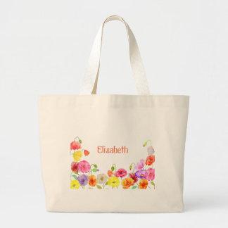 Flores coloridas de las amapolas de la acuarela bolsa tela grande