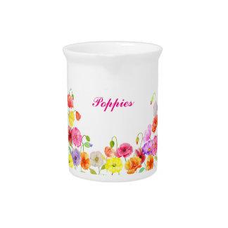 Flores coloridas de las amapolas de la acuarela jarras de beber