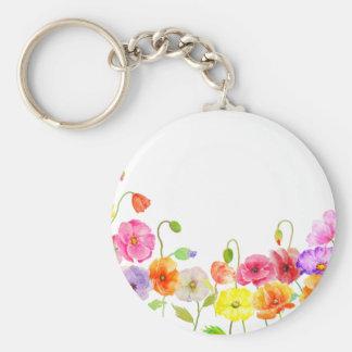 Flores coloridas de las amapolas de la acuarela llavero redondo tipo chapa