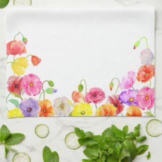 Flores coloridas de las amapolas de la acuarela toallas