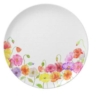 Flores coloridas de las amapolas de la acuarela platos para fiestas