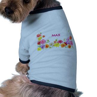 Flores coloridas de las amapolas de la acuarela camiseta con mangas para perro