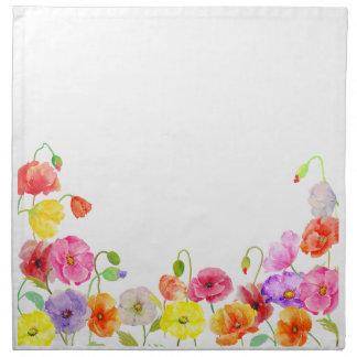 Flores coloridas de las amapolas de la acuarela servilleta imprimida