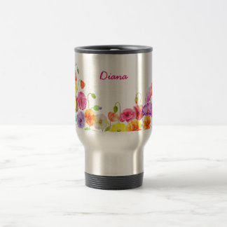 Flores coloridas de las amapolas de la acuarela taza de viaje de acero inoxidable
