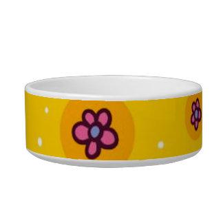 flores coloridas del dibujo animado del lindo-inco tazones para agua para gatos