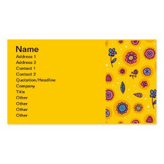 flores coloridas del dibujo animado del lindo-inco plantilla de tarjeta de negocio