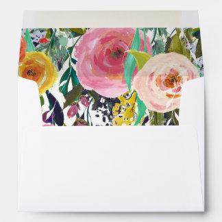 Flores coloridas del jardín romántico sobres