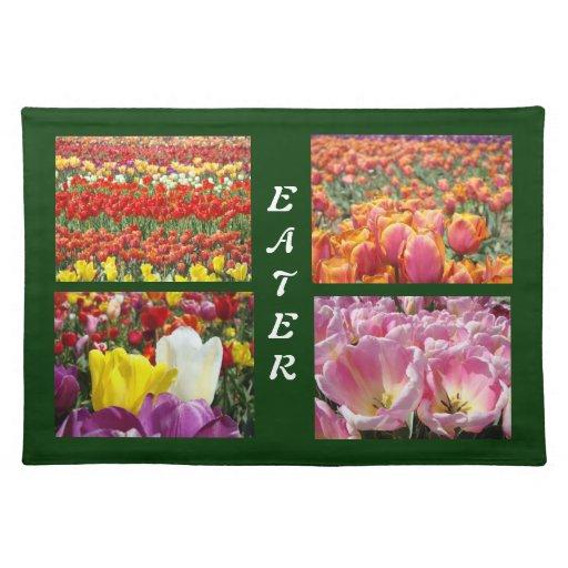 Flores coloridas del tulipán de la naturaleza de mantel individual