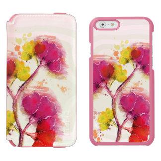 Flores coloridas en colores pastel funda billetera para iPhone 6 watson
