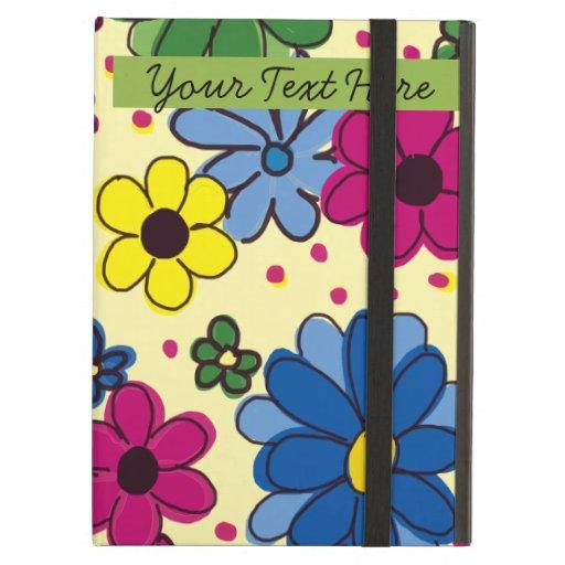 Flores coloridas en la caja amarilla del iPad
