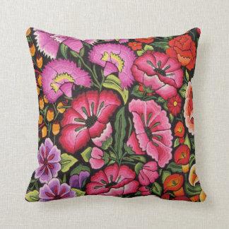 flores coloridas, estilo mexicano cojín