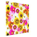 Flores coloridas impresiones en lienzo estiradas