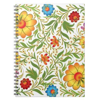 Flores coloridas libreta espiral
