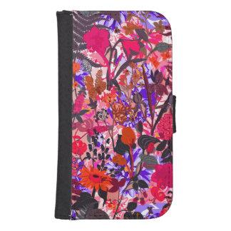 Flores coloridas lindas del vintage del girley billetera para teléfono