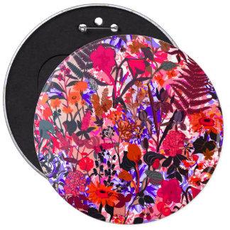Flores coloridas lindas del vintage del girley pin redondo de 6 pulgadas
