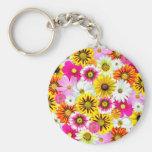 Flores coloridas llaveros personalizados