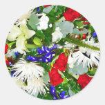 Flores coloridas pegatina redonda