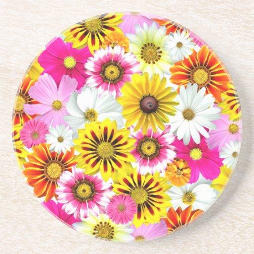 Flores coloridas posavasos para bebidas