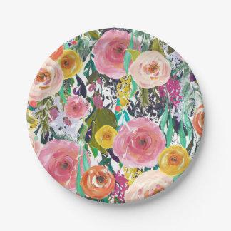Flores coloridas románticas plato de papel 17,78 cm