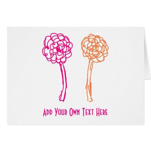 Flores coloridas. Rosa y naranja Tarjeta De Felicitación