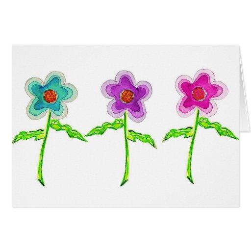 Flores coloridas tarjeta de felicitación