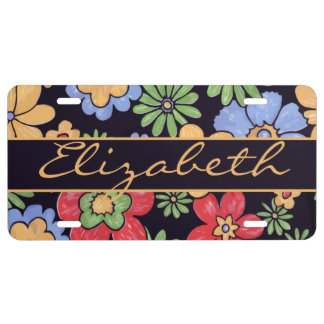 Flores coloridas vivas de encargo a personalizar placa de matrícula