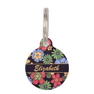 Flores coloridas vivas de encargo a personalizar placas de mascota
