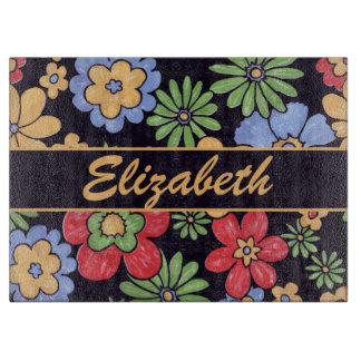Flores coloridas vivas de encargo a personalizar tabla para cortar